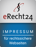 eRecht 24 Siegel für Impressum in blau